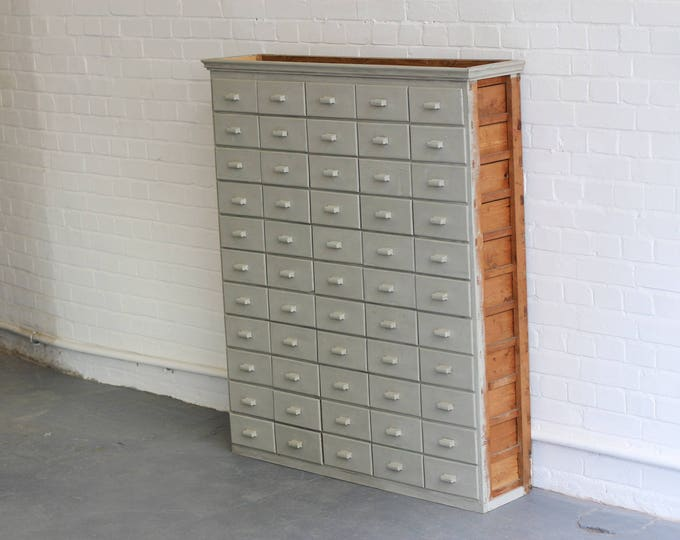 Large Bank Of Pine Haberdashery Drawers Circa 1950's
