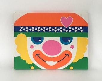 Vintage WALL HANGING Clown FABRIC Art 1970s Kids Room decor