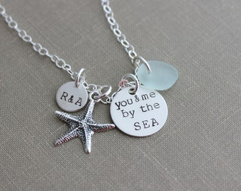 you & me by the SEA sterling silver charm beach necklace, Hand stamped personalized with two initials, English Sea glass, and Starfish