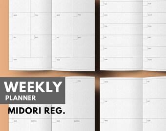 Week on 2 Pages Printable   WO2P   Midori traveler's notebook insert printable