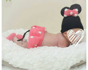 Newborn girl photo outfit, Minnie mouse costume, baby girl costume, crochet newborn set, minnie mouse baby set, photography props, baby girl