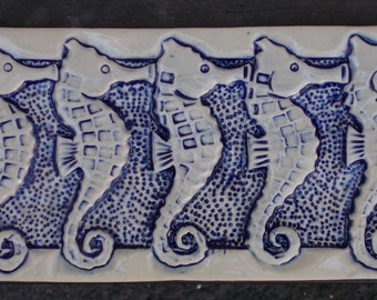 Blue and White Seahorse Hand Made Subway Tile, Bathroom, Backsplash