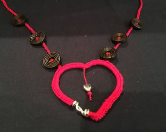 Handmade Heart shape Pendant and Buttons Necklace