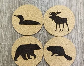 Muskoka wildlife cork coasters