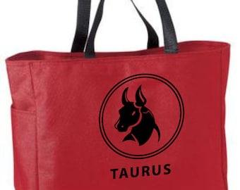 Taurus zodiac tote bag - astrology bag - polyester crafting tote bag - Taurus horoscope/sun sign/zodiac tote bag - Taurus gift