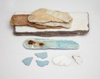 FIBREGLASS BOAT FRAGMENTS, surf tumbled, ocean worn, beach find, fibre glass, coastal art, reclaimed craft supplies, salvage materials