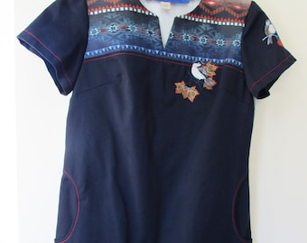 Ladies Embroidered Scrub Top: (Size 10) MT02