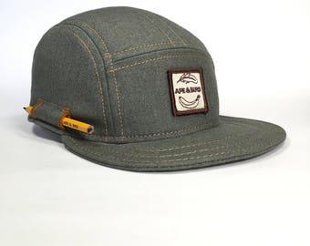 handmade baseball cap , green cap , woodworker cap , gifts for him , pencil holder cap , pencil cap , canvas cap , green hat , canvas hat
