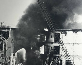 Vintage photo of firefighters teying to put out huge fire in Grand Rapids, mi photo by Henry F Zeman