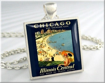 Chicago Poster Pendant, Vacation Art Pendant, Resin Picture Charm, Chicago Illinois Poster Jewelry, Square Silver, Chicago Gift (660SS)