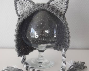 Crochet baby hat, Wolf hat, Hat with with ears, Newborn photo prop, newborn/baby hat, baby boy, baby girl, newborn prop, Animal hat