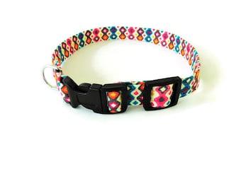 Geometric diamond design collar, multicolor dog collar, abstract collar