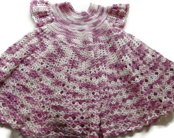 Variegated White and Purple lace baby dress for 6- 9 month