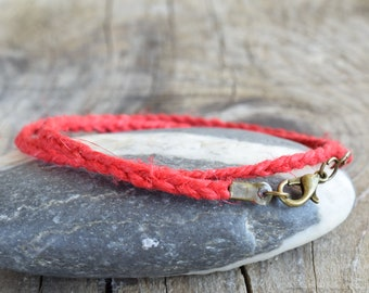 Distress Red Hemp Bracelet, Red Cord Bracelet, Mens Red Bracelet, Hemp Braided Bracelet, Hemp Anklet,