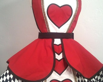 Retro Apron, Queen Of Hearts Pin Up Costume Apron, Cosplay Wonderland