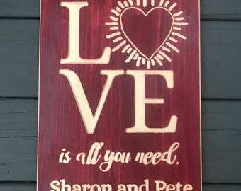 Personalized All you need is love is all you need sign