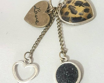 leapard print pendant,key & love charm, necklace, faux druzy, glitter druzy, pendant, glitter druzy, mothers day, gift,birthday
