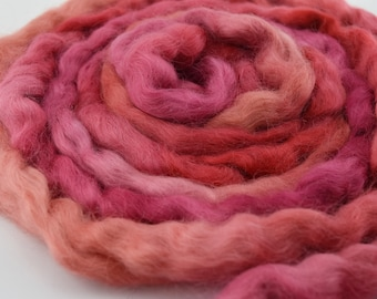 Wool Roving English Leicester Combed Wool Tops Tasmanian Grown Non Mulsed Spinning Felting Needle Felting Red Mix 100g 12122