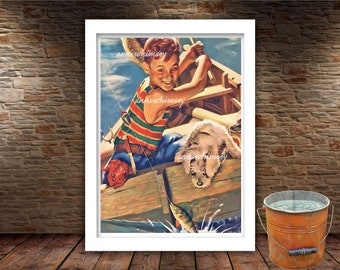 """Boy's Room Art, Family Room Art, Kitchen Art, Guest Room Art, A Boy and His Dog Art  """"We Got One""""   Boy and Dog Fishing  #192"""