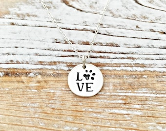 Love Necklace with Paw print - dog remembrance - pet jewelry - cat or dog - memorial - loss - gift for her - sterling silver charm