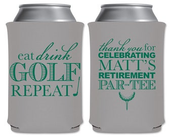 Neoprene Collapsible Beer Can Cooler Beverage Insulator Personalized Retirement Party Favors | Eat Drink Golf Repeat (1A) | READ DESCRIPTION