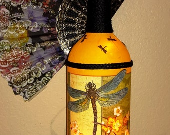 """DRAGONFLY LAMP / NIGHTLIGHT...Beautiful hand made with lights a great decorator item. 14"""" tall. Great gift!"""
