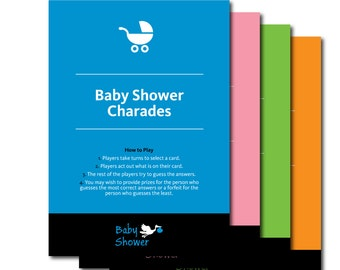 Baby Shower Charades   Fun Printable Charade Baby Shower Game   Printable  Charades,Baby Shower