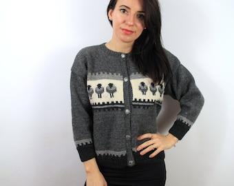 Vintage Wool Cardigan, Sweater.