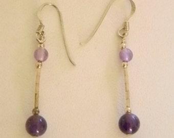 925 Purple Beaded Dangle Pierced Earrings
