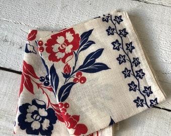 50s FLORAL LINEN  2 dish towels