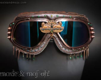 """Burning Man Goggles, Steampunk Goggles, Costume Goggles, Playa Goggles, Egyptian inspired, Rainbow lens goggles: """"Queen of the Nile"""""""