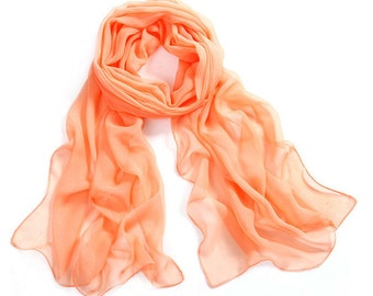 Orange Chiffon Scarf - Pale Orange Chiffon Scarf -30D67