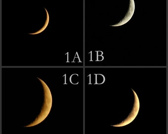 Waxing Crescent Moon, Moon phase photo, Choose any image any size, crescent moon, waxing moon, custom moon photo, moon image