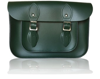 "11"" Classic British Leather Satchel 100% Real Leather - British Racing Green"