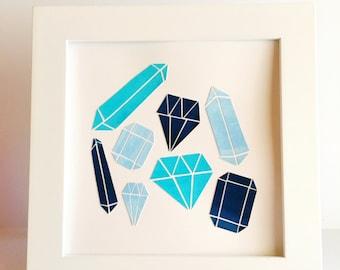 "Blue Gems - 8x8"" Collage"