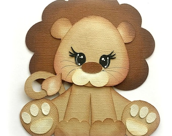 Baby lion  furbaby  premade paper piecing 3d die cut by my tear bears kira