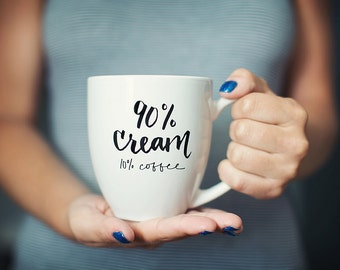 90% Cream // Calligraphy Coffee Mug