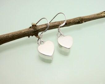 Cute 3 D 925 Silver Heart Earrings With French Ear Wire,Heart Earring,Pierced Earring,Teen Girls Earring,Personalized Gifts,Gifts For Hers