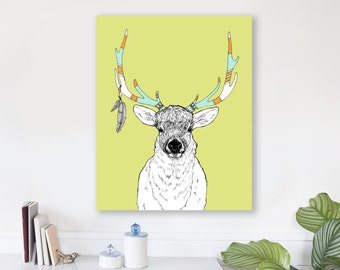large modern wall art, large canvas wall art, animal art prints, colorful modern wall art, nursery art, woodland nursery art -Elk & Feathers