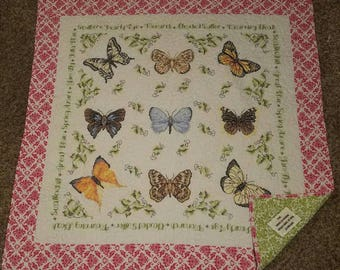 Hand embroidered butterfly lap quilt 50.5 in x 51.5 in