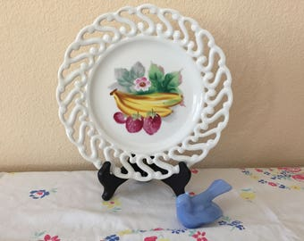 Decorative Vintage Plate with Lattice Border and Hand-Painted Design / Cottage Decor / Shabby Chic