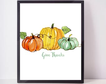 Give Thanks Thanksgiving Print, Thanksgiving Print, Fall Print, Fall Wall Art, Home Decor, Autumn Decor, Autumn Art, Thanksgiving Print