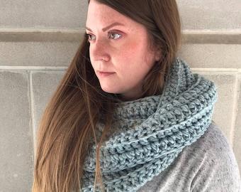 Womens Scarf - Mens Scarf - Crochet Scarf - Winter Scarf - Infinity Scarf - Oversized Scarf - Light Blue Scarf - WIEBKE SCARF