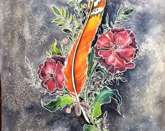 Kestrel Feather With Poppies
