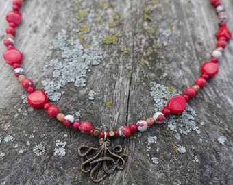 Red Coral Octopus Necklace