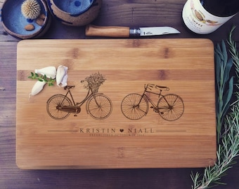 Chopping Block - Custom Cutting Board, Couple Cutting Board, Bike Cutting Board, Newlyweds Gift, Custom Cheese Board, Wood Chopping Board