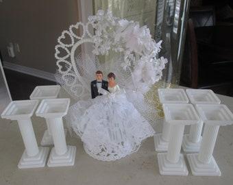 Vintage Wedding Cake Topper and Pillars