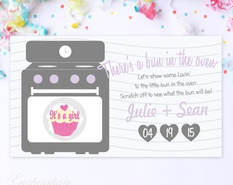 10 Custom Baby Gender Reveal Scratch Off Cards - There's A Bun In The Oven