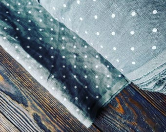 Washed mint white polka dot linen fabric by the meter, organic flax fabric, stonewashed black dots linen fabric by the yard, tissu de lin