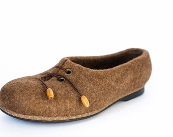 Womens felted loafers Gretchen -  Slip-On Shoes for women - handmade organic wool felt shoes -  Shoes for the home or street